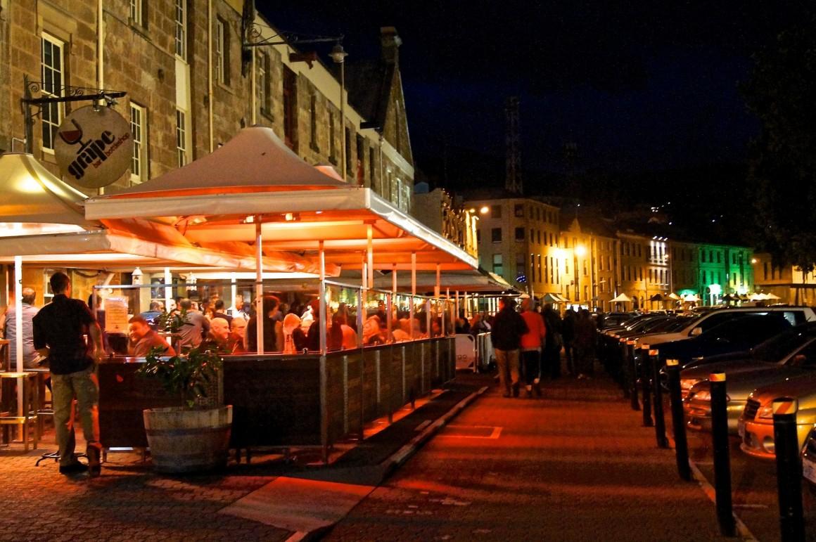 Salamanca Place Hobart at night - copyright