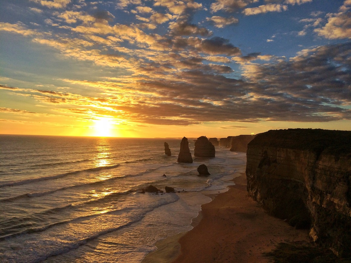 The 12 Apostles at Sunset Australia - Copyright