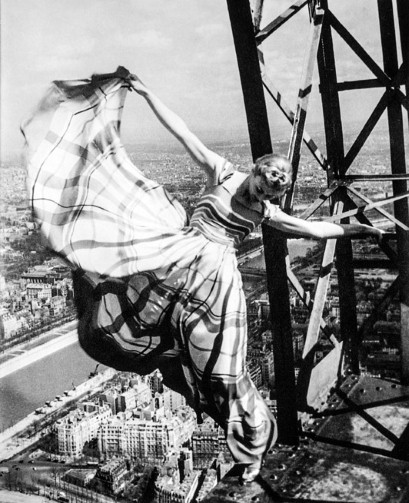 vintage model on the eiffel tower