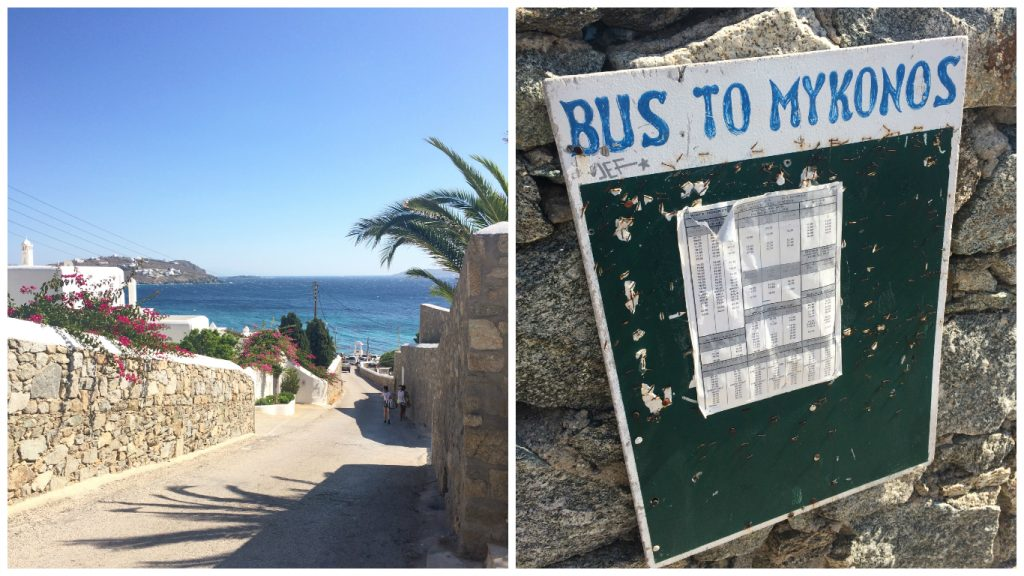 Agios Ioannis The Shirley Valentine Beach Mykonos Bus stop