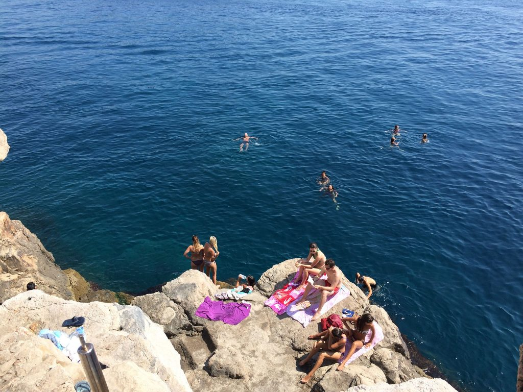 Buza Bar Dubrovnik Croatia sunbaking swimming