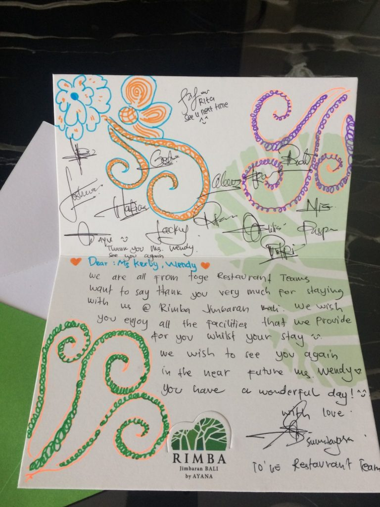 Thank you card from staff at to'ge Rimba